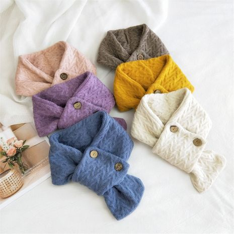 Cute girl button knitted scarf Korean autumn scarves wholesale NHMN269345's discount tags
