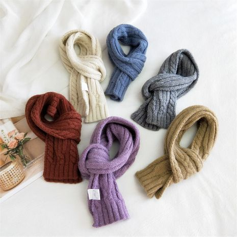 Striped solid color knitted wool scarf women's autumn Korean long fashion students warm scarf NHMN269346's discount tags