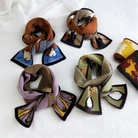 Dessin animé élan tricot écharpe femmes automne mode coréenne étudiant double face compacte chaud bavoir NHMN269347's discount tags