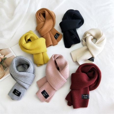 Écharpe d'étiquetage à double usage double face de couleur pure pour femme Écharpe chaude coréenne NHMN269348's discount tags