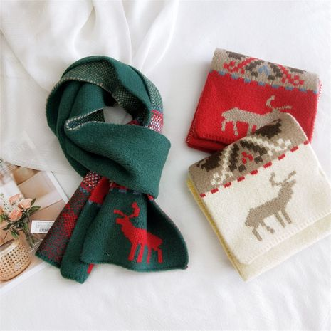 New Christmas snowflake fawn scarf winter Korean soft girl cute knitted elk red scarf NHMN269349's discount tags