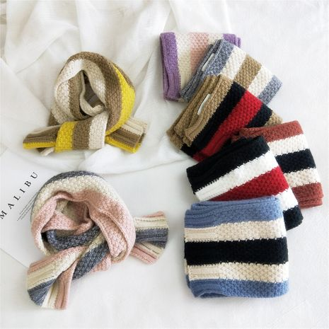 Striped three-color knitted scarf  NHMN269352's discount tags