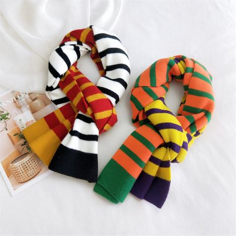 Color striped knitted scarf  NHMN269354's discount tags