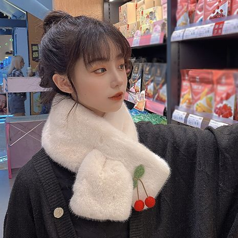 rabbit fur plush korean  thickened warmth cute wild scarf NHCM269366's discount tags