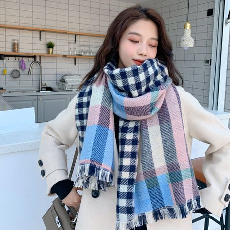 Korean  double-sided plaid shawl dual-use student long thick warm woolen scarf NHCM269371's discount tags