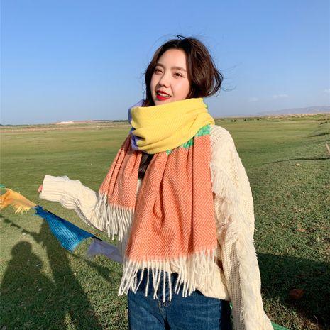 nouvelle écharpe en cachemire de couleur assortie double face épaississement châle de voyage chaud écharpe longue NHCM269379's discount tags