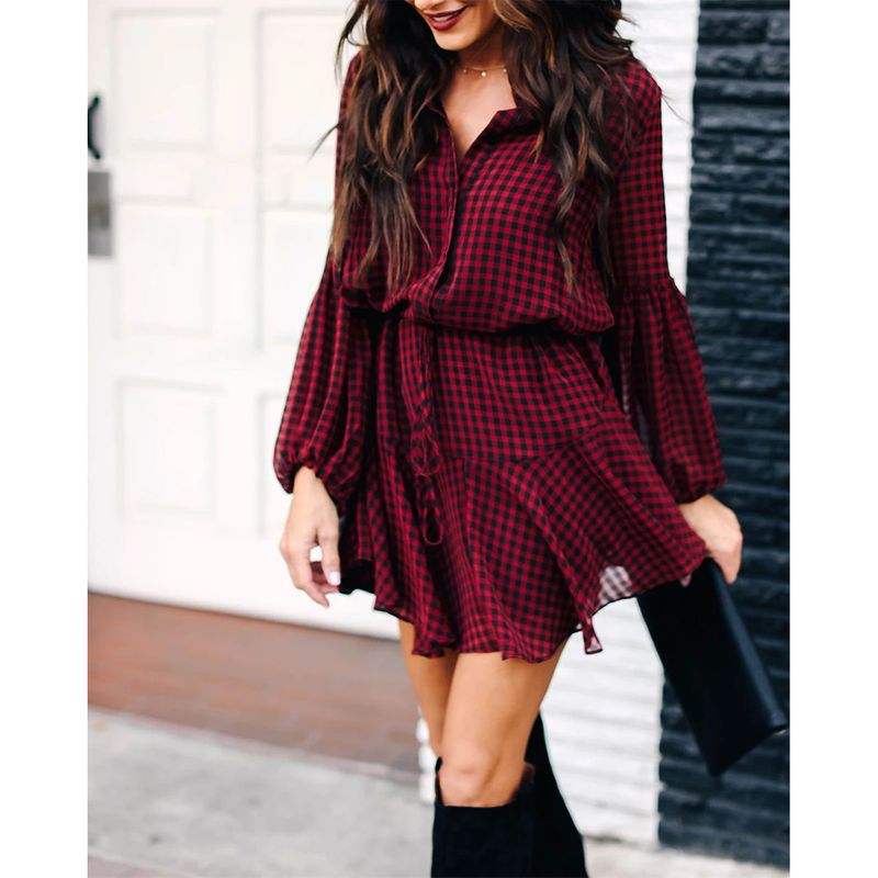 Spring new plaid print lantern sleeves ruffled hem long sleeve dress NHJG269395