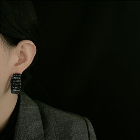 Korean new letter leather woven retro C-shaped wide circle earrings  NHYQ269400's discount tags