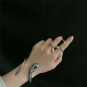 retro antique silver snake totem gemstone diamond exaggerated opening bracelet  NHYQ269408