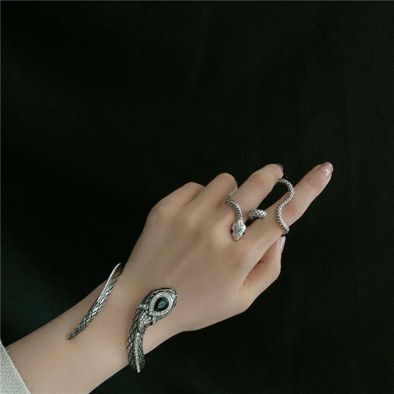 retro antique silver snake totem gemstone diamond exaggerated opening bracelet  NHYQ269408