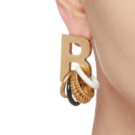 fashion retro new letter multi-color gold black circle earrings NHYQ269415's discount tags