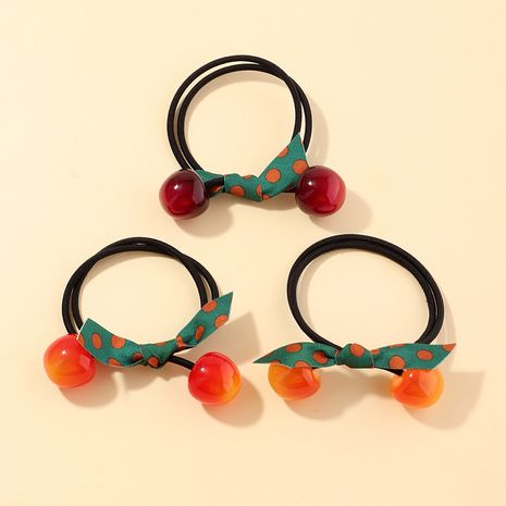 cute cherry rubber band tie head Korean bow hair rope Mori hair scrunchies NHAU269420's discount tags