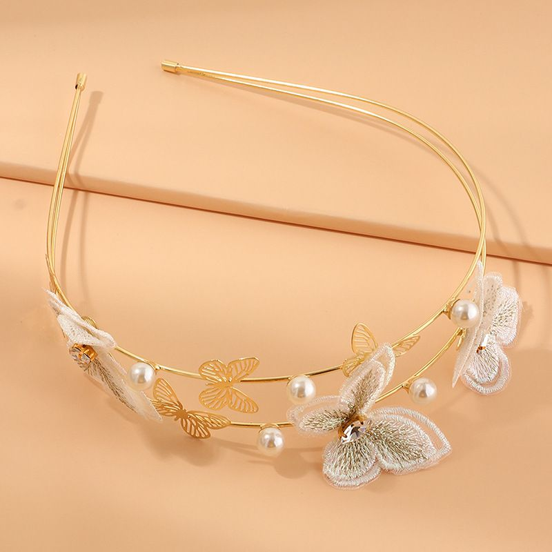 hot sale pearl butterfly fabric handmade embroidery romantic purple butterfly headband  NHAU269424