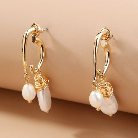 new hot-selling winding baroque pearl elegant fashion natural freshwater rice bead earrings NHAN269432's discount tags