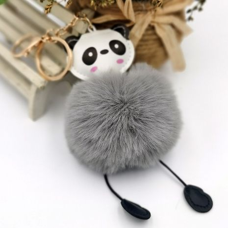 PU cuero panda piel bola llavero imitación piel de conejo rex moda regalo de Navidad colgante NHDI269445's discount tags