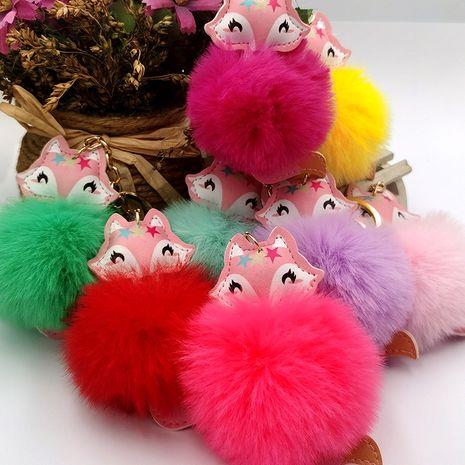 PU leather fox fur ball keychain imitation rex rabbit fur car ornaments Christmas gift bag pendant NHDI269446's discount tags