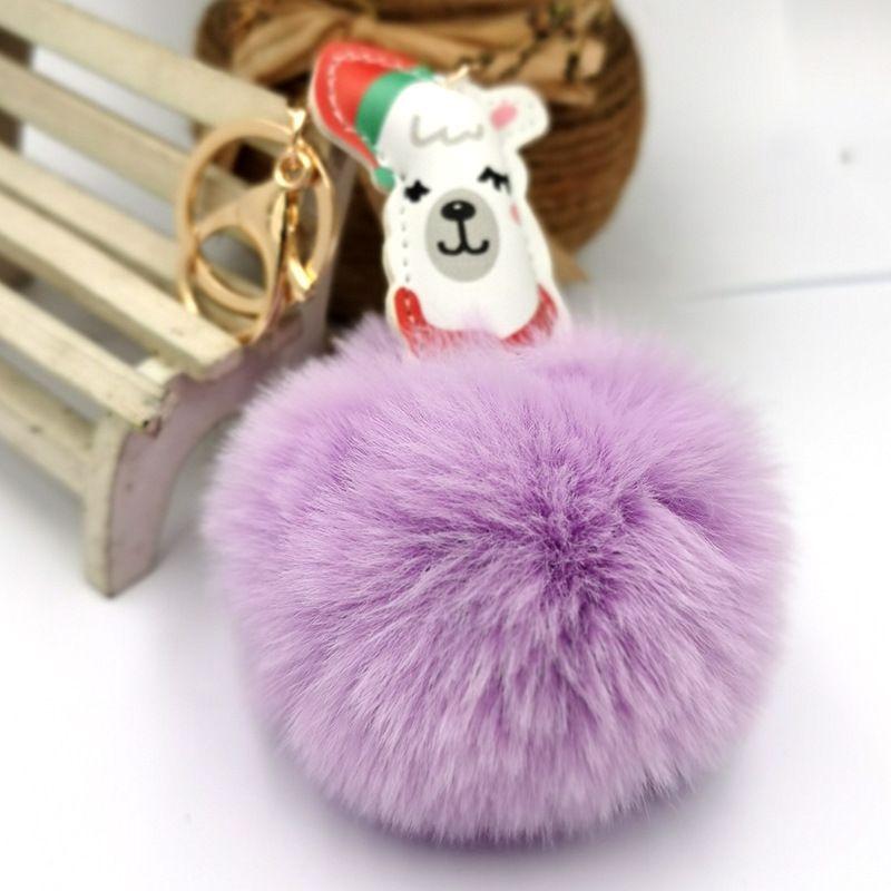 Christmas leather small wool ball keychain imitation rex rabbit fur ladies bag pendant car ornaments NHDI269448