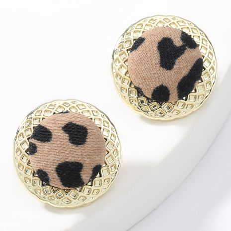 autumn and winter new round alloy leopard print cloth retro earrings NHJE269450's discount tags