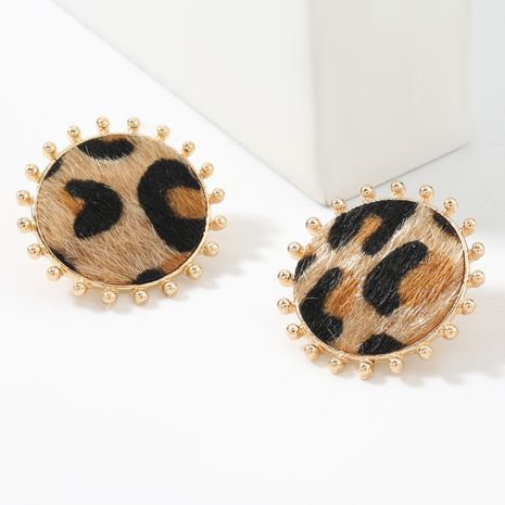 autumn and winter new simple round alloy leopard print flannel flocking retro earrings  NHJE269451's discount tags
