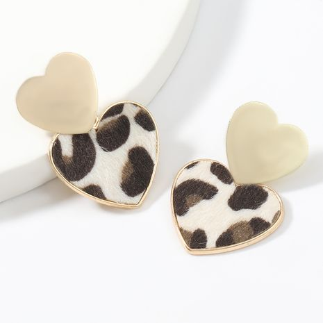 autumn and winter new multi-layer heart-shaped alloy leopard-print flannel flocking earrings NHJE269452's discount tags
