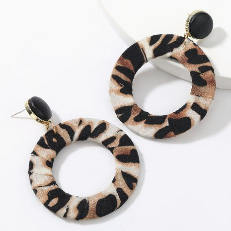 autumn and winter new round artificial leather leopard fabric retro sexy earrings NHJE269456's discount tags