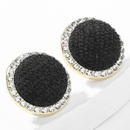 autumn and winter new round alloy diamondstudded acrylic cotton earrings  NHJE269458