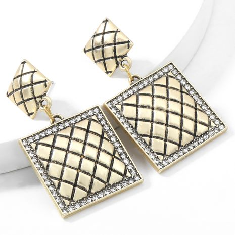 Autumn and winter new horizontal stripes alloy acrylic diamond trimming retro earrings NHJE269459's discount tags