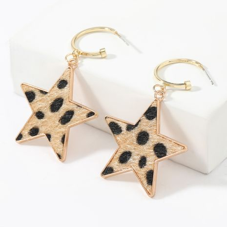 autumn and winter new five-pointed star alloy leopard pattern flannel flocking retro earrings NHJE269460's discount tags