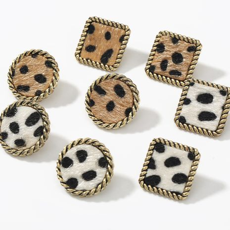 autumn and winter new square round lace alloy leopard flannel flocking earrings NHJE269462's discount tags