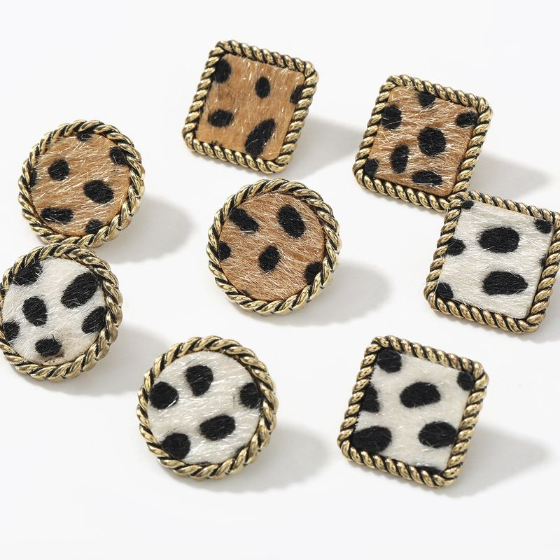 autumn and winter new square round lace alloy leopard flannel flocking earrings NHJE269462