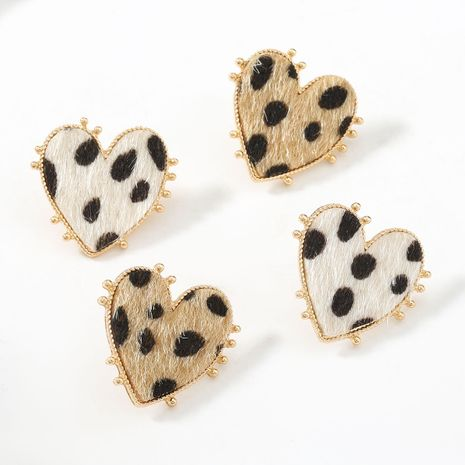 autumn and winter new heart-shaped alloy leopard-print flannel flocking retro earrings NHJE269463's discount tags