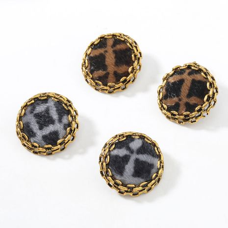 autumn and winter new lace round alloy leopard print flannel flocking retro earrings  NHJE269465's discount tags