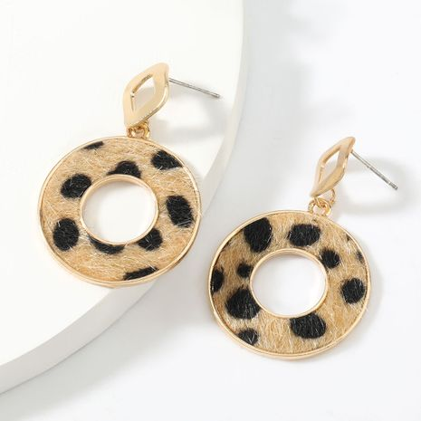 autumn and winter new round alloy leopard print flannel flocking retro earrings NHJE269466's discount tags