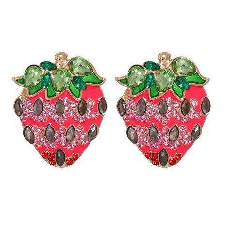 Creative Sweet Korean Fruit Pink Strawberry Oiled Diamond Stud Earrings NHJJ269470's discount tags