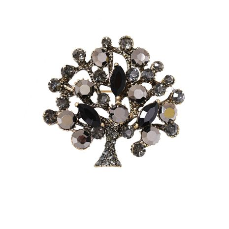 all-match fashion leaf pin crystal Korean brooch NHJJ269472's discount tags