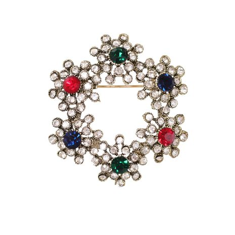Imitation Crystal Multicolor Round Retro Garland Brooch NHJJ269474's discount tags