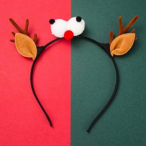 Bande de cheveux en cornes élan de Noël en flanelle yeux bonhomme de neige NHLN269487's discount tags