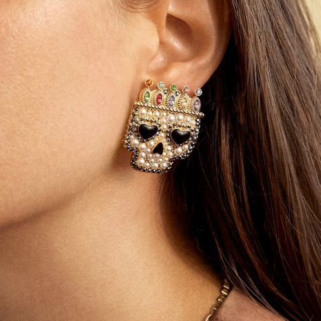 exaggerated skull Halloween funny diamond creative imitation pearl earrings NHMD269502's discount tags