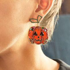 Exaggerated Horror Pumpkin Halloween Funny Creative Diamond Earrings NHMD269503