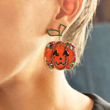Exaggerated Horror Pumpkin Halloween Funny Creative Diamond Earrings NHMD269503's discount tags