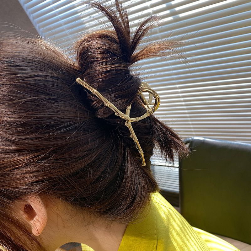 Korean bamboo joint design metal clip French retro simple large hairpin  NHOF269528
