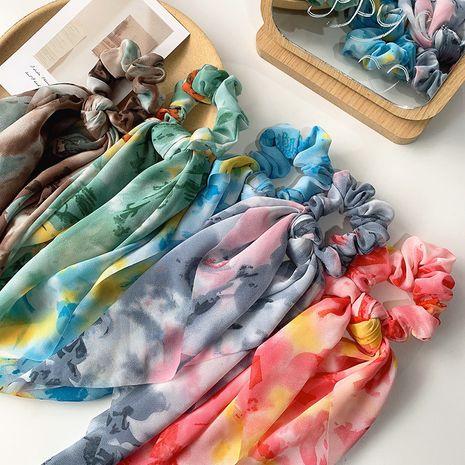anneau de cheveux bandage long ruban de foulard en soie fleur de marguerite bleu marine jaune NHOF269531's discount tags