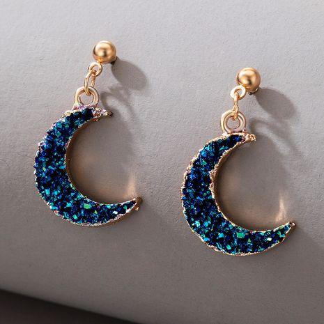 neuer Schmuck einfache Nachahmung Naturstein blau Halbmond Ohrringe NHGY269544's discount tags