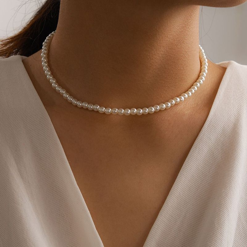 Korean style allmatch pearl womens single layer necklace  NHGY269545