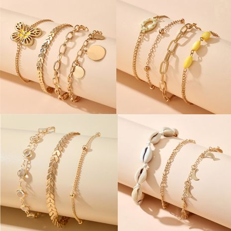 fashion creative butterfly shell anklet simple moon disc pendant multi-piece footwear set NHGY269553's discount tags