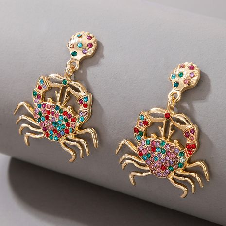 fashion exaggerated animal alloy diamond-studded crab pendant earrings NHGY269554's discount tags