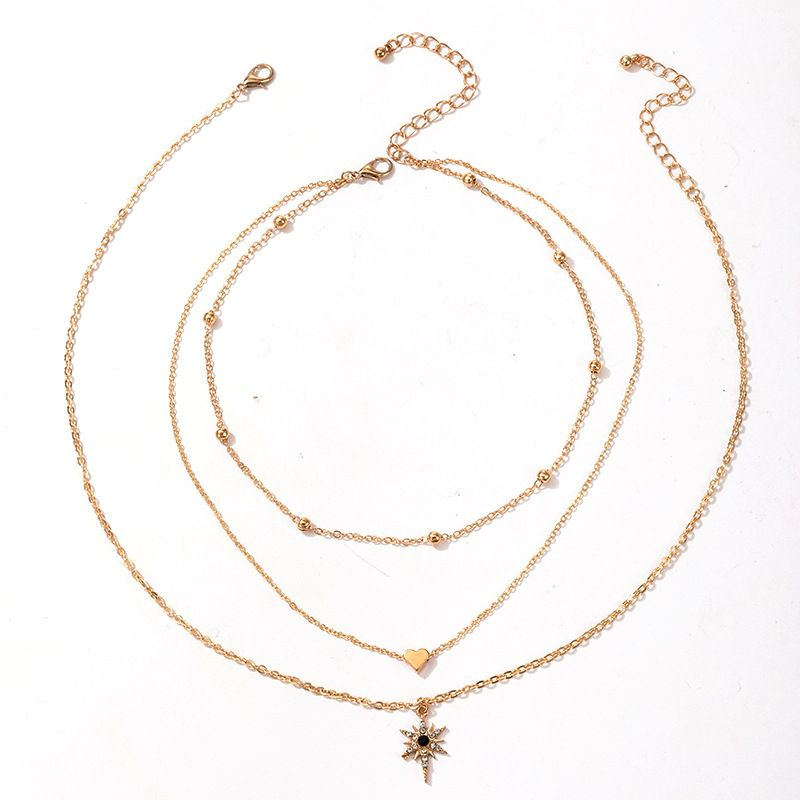 fashion new womens multilayer heartshaped star heartshaped pendant necklace  NHGY269559