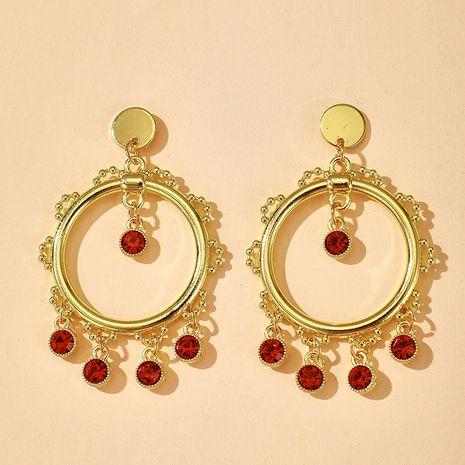 Korean circle red rhinestone tassel pendant earrings  NHGY269560's discount tags
