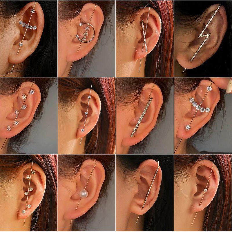 embedded diamond simple piercing ear needles lightning leaf diagonal stud earrings NHDP269567
