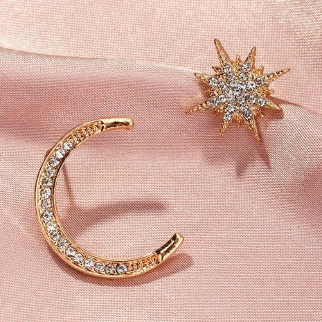 Simple Diamond Asymmetrical Star Moon Earrings NHNZ269572's discount tags